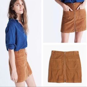 Madewell | Zip Front Corduroy Miniskirt Camel Tan